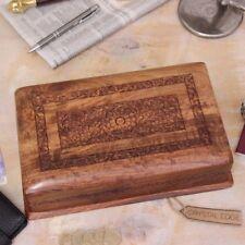 Mandakini Grand Boîte de rangement en bois mécanisme verrouillage floral bijou