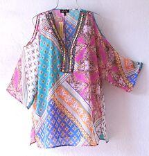 NEW~Pink Teal Blue & Peach Patchwork Peasant Blouse Shirt Boho Top~16/18/14/XL