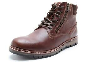 Red Tape Sawston Lace Zip Fleece Warm Leather Mens Boots Brown