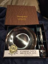 1960's Morning Rose By Oneida Silversmiths Community Silverplate Bowl And Spoon