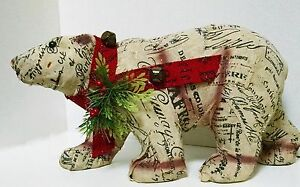 Black and White Christmas Tole Wrapped Bear Red Ribbon and Bells Added Greenery
