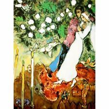 """30Wx36H/"""" SELF PORTRAIT WITH CLOCK by MARC CHAGALL JESUS DONKEY CHOICES of CANVAS"""
