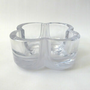 Vintage 1970s Daum Crystal France, art glass square frosted bowl. Signed numberd