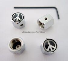 1 Set Brand New Peace Logo Anti-Theft Locking Tire Air Valve Cap 1Set