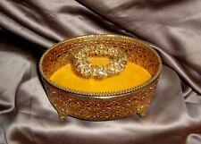 Lrg Oval Gold Filigree Ormolu Casket Bevel Glass Top Gilt Rose Wreath Vanity Box