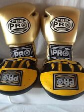 Pro Boxing Gloves PBS Gold, 12oz Lace-up Design, PLUS 2 Punch MITTS