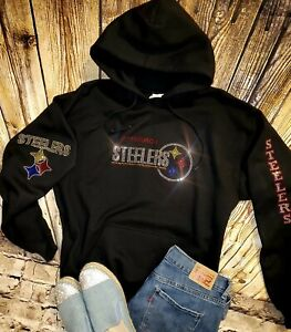 New Women's Size XL Unisex Pittsburgh Steelers Hoodie Sweatshirt Rhinestones