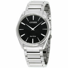 Citizen AR3070-55E Eco-drive Para Hombre Stiletto Dial Negro Reloj de tono plateado 38mm