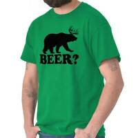 Beer Funny Deer Bear Hunting Hipster Drinking Short Sleeve T-Shirt Tees Tshirts