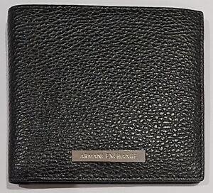 Armani Exchange Mens Bifold Credit Card Wallet in Black Pebbled with Badge