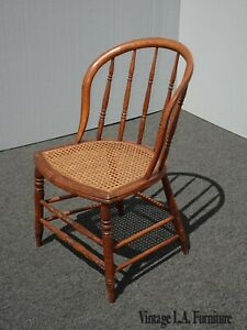 Vintage French Country Brown Cane Club Chair Farmhouse Chic