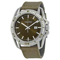 Calvin Klein Earth Green Dial Men's Nylon Watch K5Y31XWL