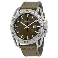 Calvin Klein Earth Green Dial Men's Nylon Watch K5Y31XWL