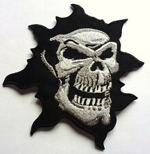 GHOSTLY SKULL - SEW OR IRON ON BIKER MOTORCYCLE PATCH 100mm x 105mm