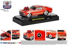 M2MACHINES 1:64 SCALE DIECAST METAL ORANGE 1969 FORD MUSTANG GROUND POUNDER