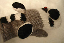 Lemur Mittens puppet Lnd knit Adult ringtail Cat meerkat Match Hat Sold Separate
