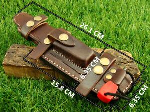 26CM Multi Carry Knife Bushcraft Tracker Brown Leather Sheath w/Fire Starter NEW