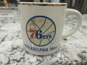 Vintage NBA Philadelphia 76ers Coffee Cup Mug Gold Rim LOOK