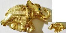 broche bijou vintage éléphant couleur or finement gravé en relief * 3425