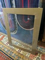 ANTIQUE PRIMITIVE BROWN GOLD WOOD PICTURE FRAME VTG RETRO GLASS 14X20 25X19 OLD