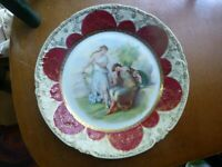 Antq. Royal Vienna Style Hand Painted Porcelain Cabinet Plate Repose