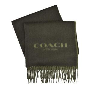 NWT COACH Cashmere Wool Fabric Logo Scarf Winter Snow Fringe Olive Green F86542