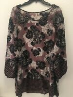 Lane Bryant Floral Cold Shoulder Tunic Polyester Women's Size 26/28 Blouse Top