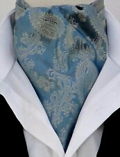 Mens French Blue & Gold Paisley Silky Satin Ascot Cravat & Pocket Square