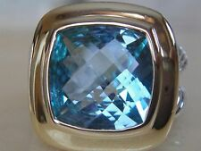 DAVID YURMAN 18/K GOLD,SS ALBION BLUE TOPAZ  RING