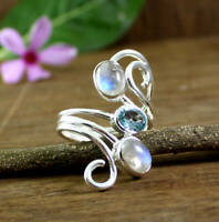 SOLID 925 STERLING SILVER ENGAGEMENT MOONSTONE BLUE TOPAZ GEMSTONE RING JEWELRY