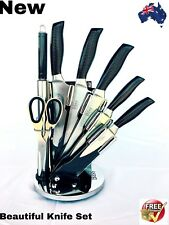 LUXURY' BASS STAINLESS STEEL 8 PIECES KNIFE BLOCK SET WITH STAND,