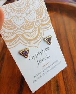 Amethyst Studs Earrings Triangle Jewelry Solid Sterling Silver Gemstone GypsyLee
