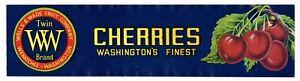 GENUINE CRATE LABEL VINTAGE CHERRIES CHERRY TWIN W WENATCHEE C1950S WELLS WADE