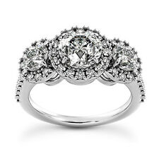 2 CT Diamond Engagement Ring 3 Stone Halo Round Cut 14k White Gold D/SI