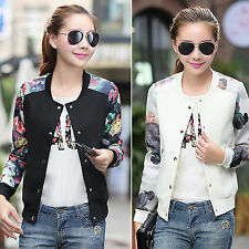 AU Fashion Women Floral Biker College Baseball Button Bomber Jacket Coat Outwear