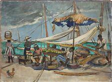 CAROLINE ARMSTRONG-British Artist-Original Signed Oil-Haitian Port/Marketplace