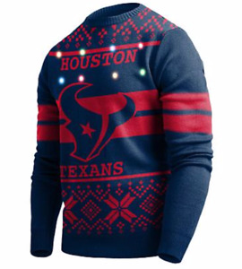 HOUSTON TEXANS NFL Big Logo Light Up Ugly Sweater, NWT Retail $74, M