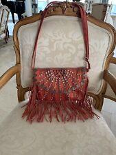 Fashion Handbag Faux Leather Orange Fringe And Bling