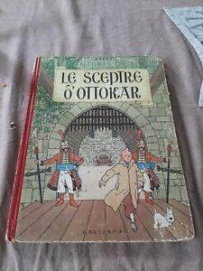 TINTIN Le SCEPTRE  d'OTTOKAR  B3 1949 HERGÉ PAGES DE GARDE BLEU 3 ÈME ÉDITION