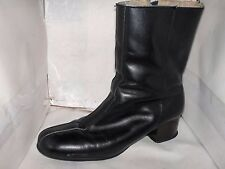 VINTAGE WOMENS HUSH PUPPIES BLACK LEATHER ANKLE BOOTS SIZE 7 N FLEECE LINING..