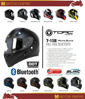 TORC T-15B Full Face Motorcycle Scooter Helmet Bluetooth DOT ECE Matte Black
