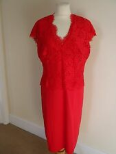 TED BAKER RED LACE DRESS WITH CAP SLEEVES