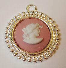 "Wedgwood Cameo in Silver-Plated Pendant- ""Greek Woman"" Pink Jasperware"