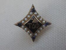 VIntage 10k Solid Gold Tau Delta Phi Fraternity Pin w/Gems
