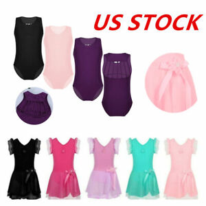 US Toddler Girls Gymnastic Leotard Jumpsuits Ballet Dance Tutu Dress Dancewear