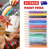 24 pcs Acrylic Paint Pens for Rock Painting Ceramic Porcelain Glass Wooden Kit