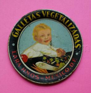 Mexican vintage tin tip tray Galletas Vegetales Lara Hnos Cookies 1930s