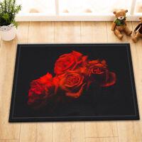 "24x16"" Red Rose Pattern Home Kitchen Bathroom Non-Slip Bath Door Mat Rug Carpet"