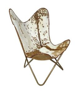 Goat Hair Leather Chair Handmade Brown & White Arm Leather Butterfly Chair S6-83