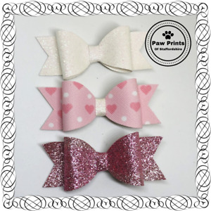 Set Of 3 Glitter Bows On Alligator Clips - Pink White Hearts Valentines Bows